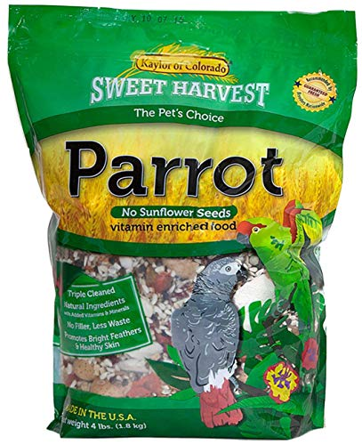 Sweet Harvest Parrot Bird Food (No Sunflower Seeds), 4 lbs Bag - Seed Mix for a Variety of Parrots