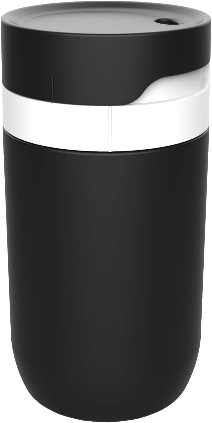 ALANDEN 12oz Travel Thermal Coffee Mugs,Twist To Drink Complete Leakproof Cup,Food Grade Stainless Steel Vacuum Tumbler,Travel Mugs For Car Holder (Black-White)