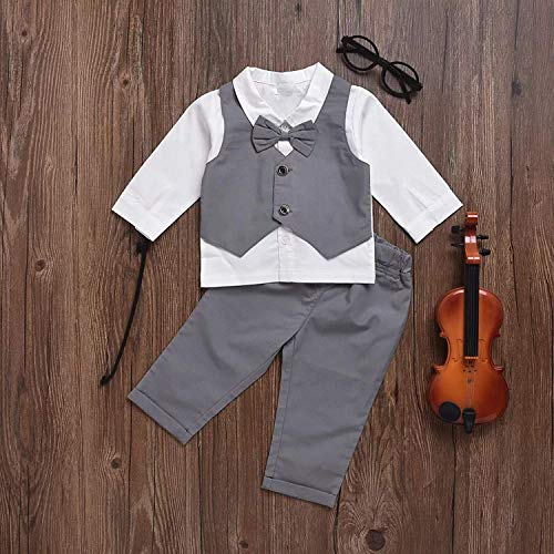 Gubabycci Infant and Toddler Baby Boy Gentleman 2pcs Long Sleeves Formal Party Wedding Suits Outfits by Gubabycci (Image #2)