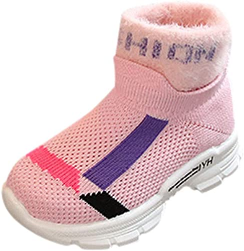 Baby Toddler Boys Girls Winter Snow Boots Warm Shoes 1-6 Years Old Kids Fashion High-Top Thicken Cotton Boots 5-5.5 Years Old, Pink
