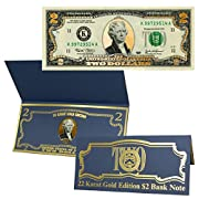 Amazon Lightning Deal 100% claimed: $2 Bill 22k Gold Layered