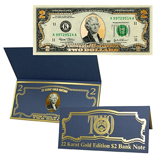 $2 Bill 22k Gold Layered - Seal United States Note Gold