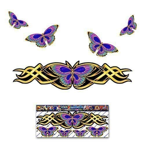 BUTTERFLY Graphic Yellow Gold Chrome Look Large ANIMAL Car Sticker Decal For Laptop Caravans Trucks & Boats ST00021GD_LGE-Jas Stickers - Limited Offer