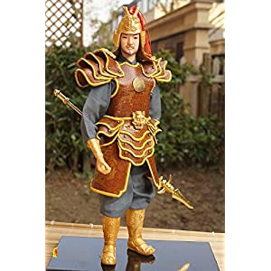 30cm Tall Ancient Chinese Warrior Commander Figurine Handmade Statue Leather Silk Furnishing-27