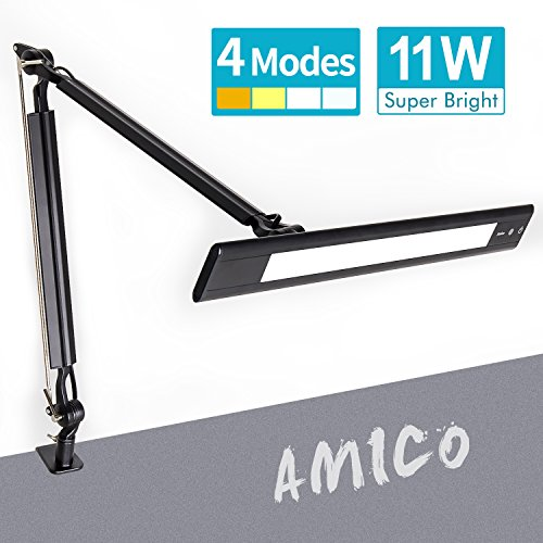 Amico LED Architect Desk Lamp/Clamp Lamp/Metal Swing Arm Task Lamp (Eye-Protective, Touch Control, 4-Level Dimmer/4 Lighting Modes, Memory Function) Drafting Work Light (Black Task Lamp) Drafting Lamp