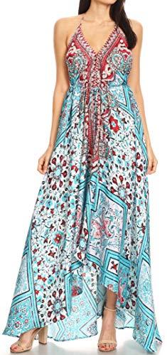 Sakkas 1817 - Lizi Womens Maxi High-Low Halter Handkerchief Long Dress Beach Party - TW222-White - OS