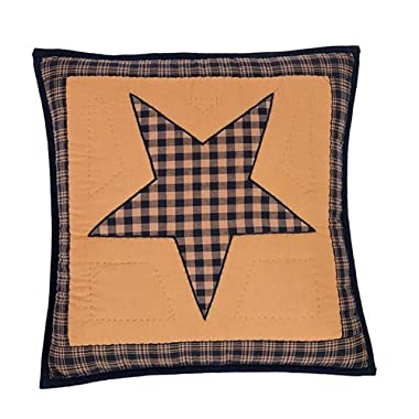 Teton Star Primitive Country Patchwork Quilted Pillow Cover 16  x 16