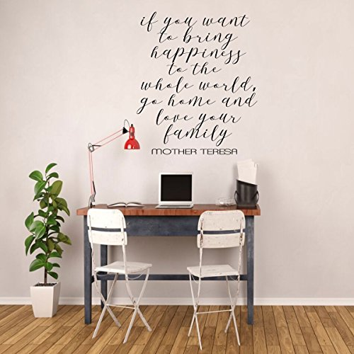Family Love Quote - Mother Teresa Vinyl Lettering - Bring Happiness to the Whole World - Peel and Stick Adhesive Sticker for Walls, Windows