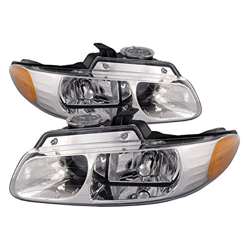 HEADLIGHTSDEPOT Compatible with Chrysler Town & Country W/Quad Headlights Headlamps Driver/Passenger Pair New Country Headlight Quad Headlamp