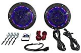Rockville Rmc65lb 6.5'' 600W 2-Way Black Marine Speakers with Multi Color LED + Remote
