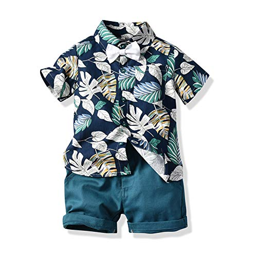 JooNeng Toddler Baby Boy Shorts Sets Hawaiian Outfit,Infant Kid Leave Floral Short Sleeve Shirt Top+Shorts Suits Dark Blue, 9-12 Months