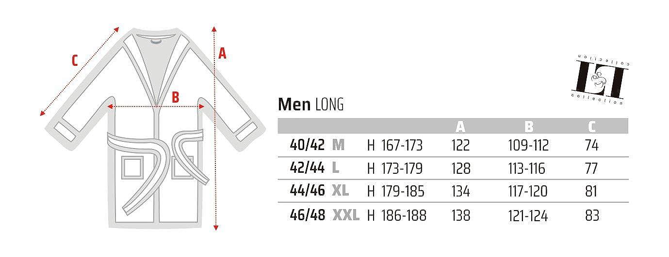 9106 Albornoz Hombres de Manga Suave Longitud Completo Extremadamente Ligero L/&L Bata de Casa para Hombres.