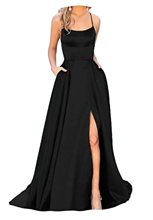 5f4046bc42e9 Fanciest Women's Halter Slit Satin Prom Dresses Long Backless Evening  Formal Gowns Black US2