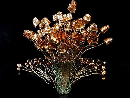 Set of 3 Bright Copper Forever Roses #813'' I Love You'' Steampunk - Wedding Prom Graduation 7th Anniversary Regalo de Aniversario Hanukkah Kwanzaa Valentine's Mother's Day Christmas Gift ! by Refreshing Art (Image #7)'