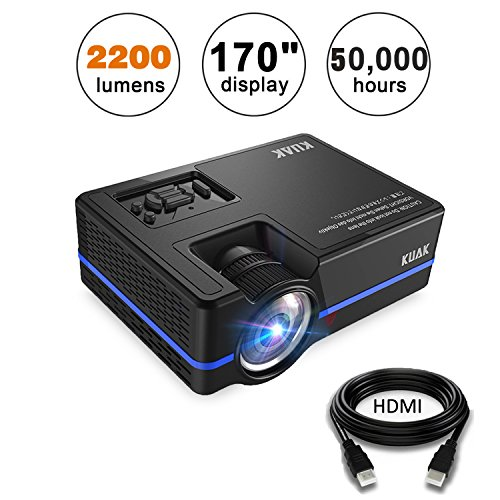Mini Projector, KUAK 2200 Lumens 170'' Display 50,000 Hour LED Full HD Multimedia Home Theater Video Projector Support 1080P HDMI USB VGA AV for Fire TV Stick PS4 Laptop Smartphone iPad- HT30&Blue by KUAK