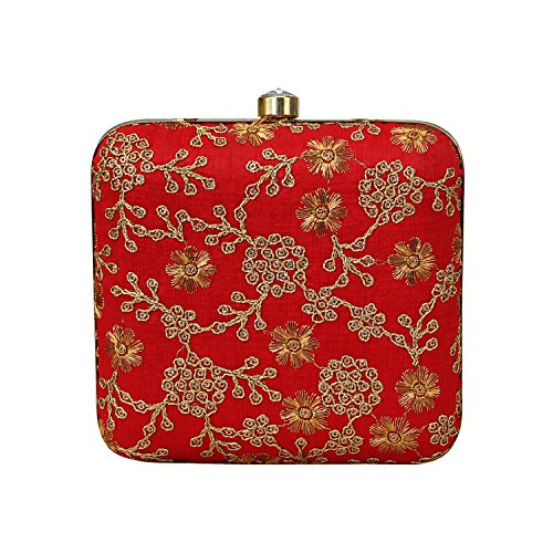 Clutch Texture Silk Zari Designed Crafted Hand Embroidery Work On