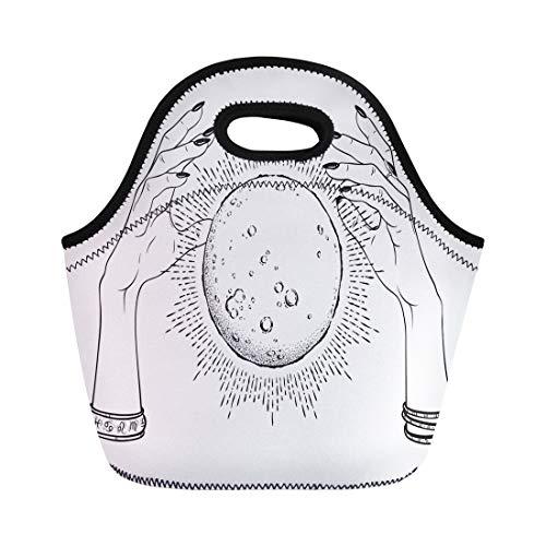 Semtomn Neoprene Lunch Tote Bag Full Moon Rays of Light in Hands Fortune Teller Reusable Cooler Bags Insulated Thermal Picnic Handbag for Travel,School,Outdoors, Work