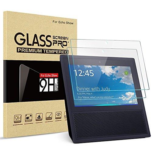 Amazon Echo Show Tempered Glass Screen Protector, JOTO Premium Glass Screen Film Guard Shield Rounded Edge Real Glass Screen Protector for Amazon Echo Show (2-Pack)