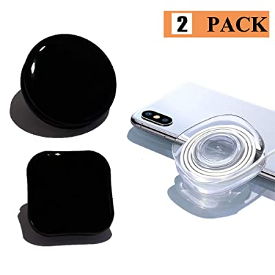 Black Nano Gel Pad Traceless Magic Paste, Toccen Universal Sticky Car Phone Holder, Durable Washable Reuse, Suitable for car Dashboard, Phone, Stick to Anywhere & Easy Remove [Round & Square]