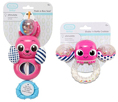 Little Tikes Baby Pink Shake 'n Rattle Crabbie and Peek-a-Boo Seal Combo Gift Set