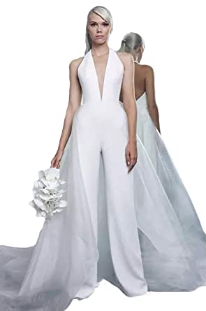 Beach Wedding Dresses Jumpsuit With Tulle Overskirt Deep V Neck