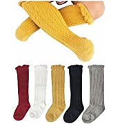Gellwhu Cable-Knit Knee High Cotton Socks For Newborn Baby Girls Boys Toddlers 5- Pack (1T-3T)