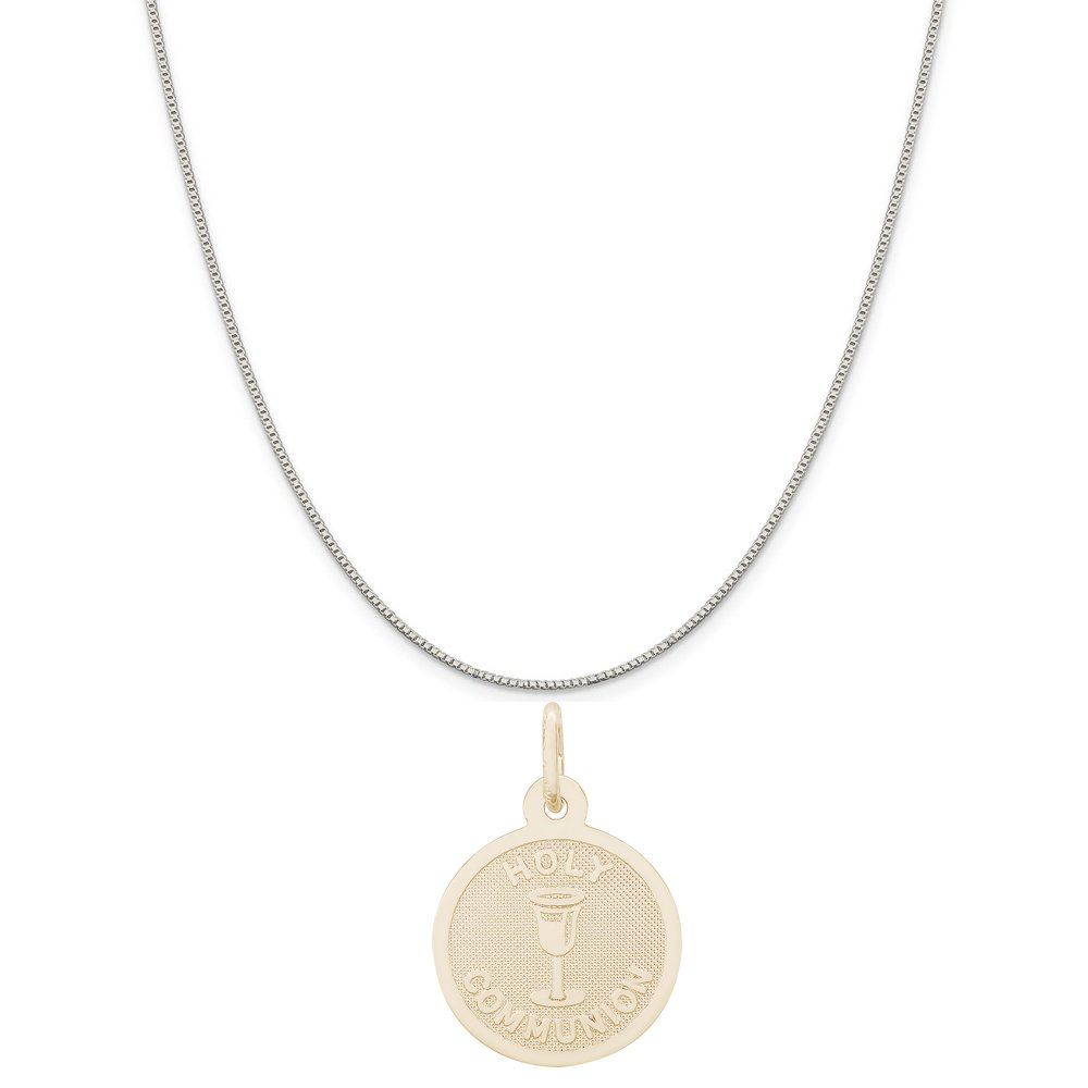 Rembrandt Charms Two-Tone Sterling Silver Holy Communion Disc Accent Charm on a Sterling Silver 16 18 or 20 inch Rope Box or Curb Chain Necklace