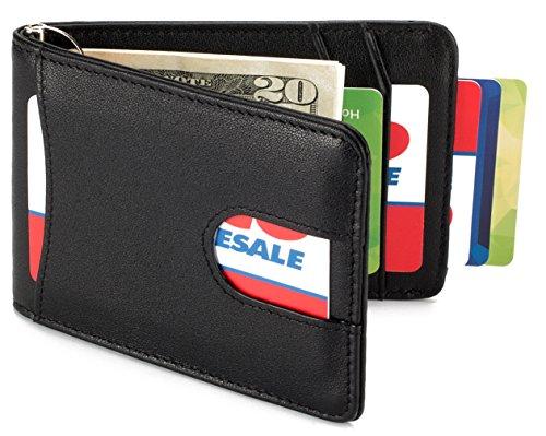 Mens Slim Leather Front Pocket Wallet with Money Clip RFID Blocking - Black