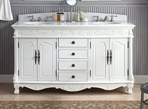 "Classic Vanity Antique - 63"" Antique white Classic style Double Sink Florence Bathroom vanity # HF-036XLW-AW"
