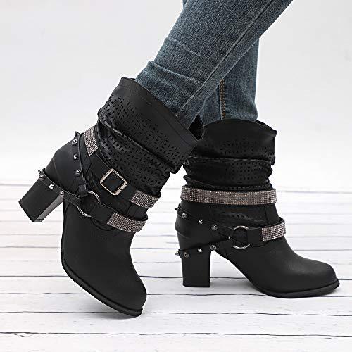 Stivali Ashop Mezzo Tallone scarpe Stivaletti Scarpe Donne Autunno Sandal Signore Eleganti Donna Scavano Nero Fuori Del E Inverno EfdqO6PO