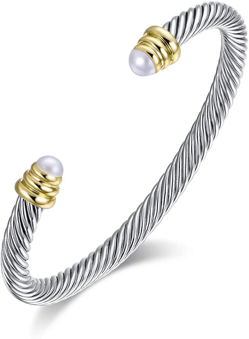 Amazon Com Designer Inspired Vintage Cable Bracelet Composite Shell Pearl Cuff Bracelet Jewelry