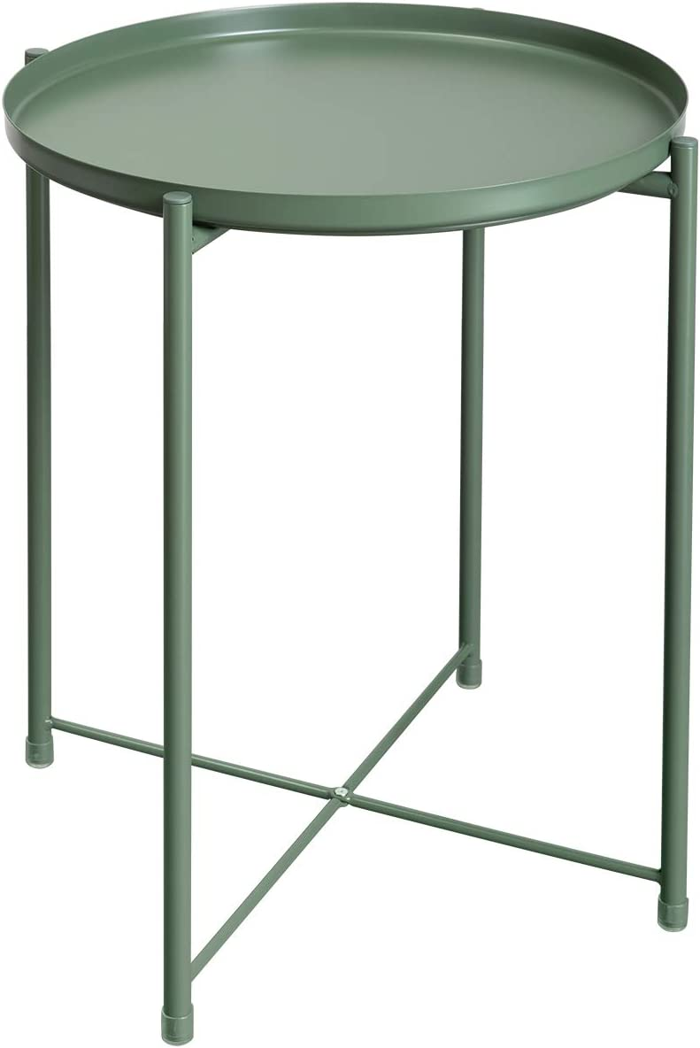 """HollyHOME Tray Metal End Table, Sofa Table Small Round Side Tables, Anti-Rust and Waterproof Outdoor & Indoor Snack Table, Accent Coffee Table,(H) 20.28"""" x(D) 16.38"""", Atrovirens"""