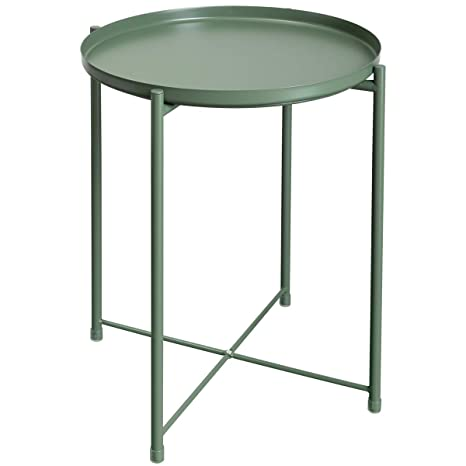 Amazon.com: HollyHOME - Mesa redonda plegable, Metal ...
