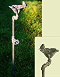Decorative Rustic Weathered Rust/gray Industrial Faucet Songbird Flower Birdbath