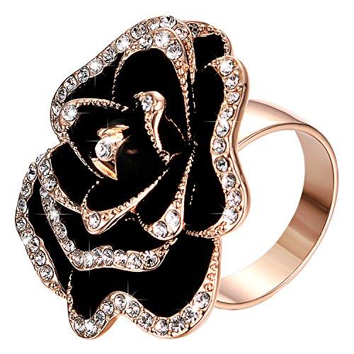 r Women Black Austria Crystal Fashion Jewelry Valentine's Day Present (Black, 7) ()