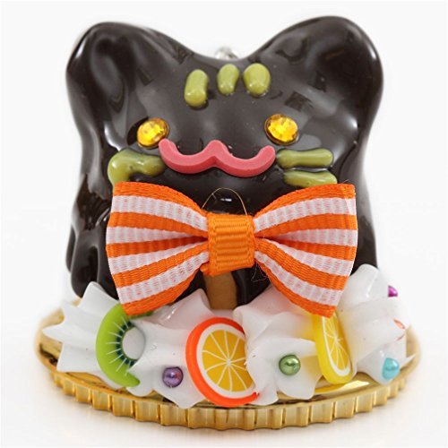 Amuse Kawaii Dessert Figure with cat face, Chocolate Sauce, Fruit, Orange and White Bow etc., with gem and Bead Embellishment
