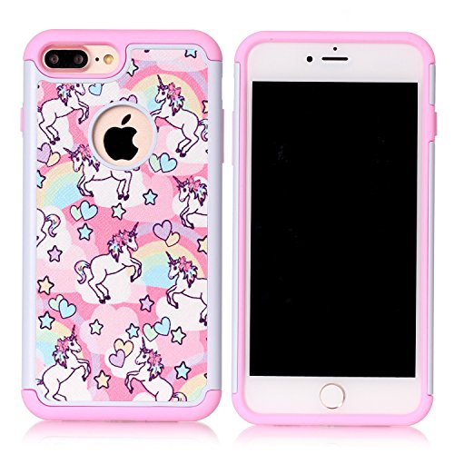 Iphone 7 Plus Case, Rainbow Unicorn Patchwork Pattern Shock-Absorption Hard PC and Inner Silicone Hybrid Dual Layer Armor Defender Protective Case Cover for Apple iphone 7 Plus