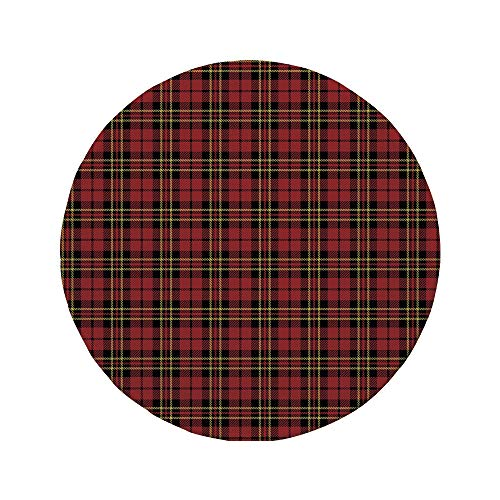 Non-Slip Rubber Round Mouse Pad,Checkered,Scottish British Celtic Culture Traditional Design in Classical Colors Decorative,Red Black Yellow,7.87