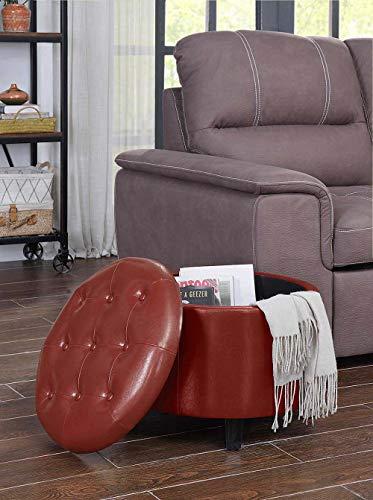 Convenience Concepts 163060BRG Designs4Comfort Round Ottoman, Burgundy Faux - Storage Burgundy