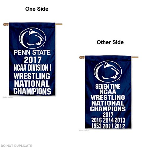 Penn State Wrestling - College Flags and Banners Co. PSU Nittany Lions Men's 2017 Division I Wrestling Champions Double Sided House Flag