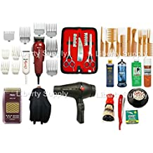 LIBERTY BEAUTY SUPPLY Cosmetology Kit For Professional Hairstylists and Hairdressers Professional Barbershop Hairsalon Barber / Hairstylist Hairdresser Cosmetology School Barber School Kit Wahl Designer Clipper Wahl Peanut Trimmer Wahl 5-Star Shaver 3200 Twin Turbo Blowdryer Straight Edge Razor Combs Set Wahl Guards Universal Clipper Trimmer 5.5 Styling Shears Thinning Shears Hair Shaper All in One Combo Clubman talco Sanek Neck Paper Neck Duster Clippercide Barbicide