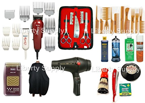 LIBERTY BEAUTY SUPPLY Cosmetology Kit For Professional Hairstylists and Hairdressers Professional Barbershop Hairsalon Barber / Hairstylist Hairdresser Cosmetology School Barber School Kit Wahl Designer Clipper Wahl Peanut Trimmer Wahl 5-Star Shaver 3200 Twin Turbo Blowdryer Straight Edge Razor Combs Set Wahl Guards Universal Clipper Trimmer 5.5 Styling Shears Thinning Shears Hair Shaper All in One Combo Clubman talco Sanek Neck Paper Neck Duster Clippercide Barbicide (Turbo Duster)