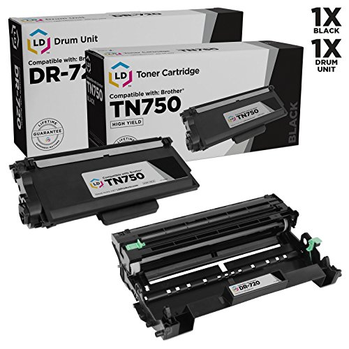 LD Compatible Toner Cartridge & Drum Unit Replacements for Brother TN750 High Yield & DR720 (1 Toner, 1 Drum, 2-Pack)
