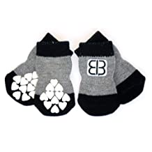 Petego Traction Control Indoor Socks for Dogs, Black/Gray, XX-Large, Set of 4