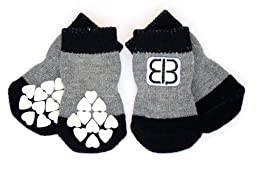 Petego Traction Control Indoor Socks for Dogs, Black/Gray, Large, Set of 4
