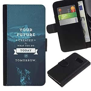 LECELL--Cuero de la tarjeta la carpeta del tirón Smartphone Slots Protección Holder For Samsung Galaxy S6 -- Tu futuro --