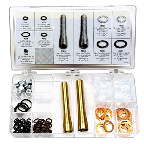 (Edelmann 70013 Power Steering O-Ring, Teflon Seal, and Copper Washer Assortment with Tools )