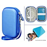 Travel Case for Polaroid ZIP Mobile Printer and HP Sprocket Portable Photo Printer and other similar size Portable Printer, with Pouch for Photo Paper and Cable (Ocean Blue)