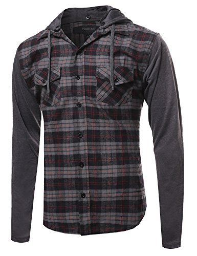 Plaid Checkered Detachable Hoodie Color Contrast Flanel Shirt Gray Black Size L