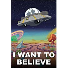 Rick and Morty I Want to Believe 36x24 Animated Cartoon TV Art Print Poster science fiction comedy Adult Swim